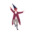 smiling male wizard dancing at theme party vector image vector image