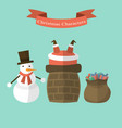 snowman sees santa claus stuck in the chimney vector image