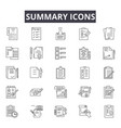 summary line icons for web and mobile design vector image vector image