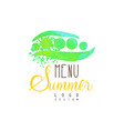 summer menu logo design label for vegetarian vector image vector image