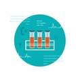 Test tube flat icon Online medical diagnosis and vector image