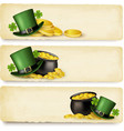 Three Saint Patricks Day banners with lover leaves vector image vector image