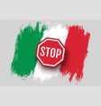 vintage italian flag with stop sign vector image vector image