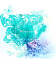 watercolor invitation background with blue spot vector image