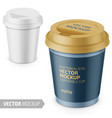 white matte disposable cup with lid template vector image vector image