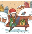 Winter with girl and gift on a park vector image vector image