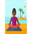 Woman meditating in lotus pose vector image vector image