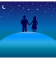 Happiness concept - boy and girl under night skies vector image