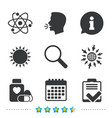medical icons atom magnifier glass checklist vector image