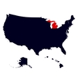 Michigan State in the United States map vector image
