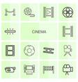 14 cinema icons vector image vector image
