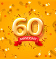 anniversary ceremony balloons 60 numbers vector image vector image