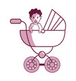 baby girl with hairstyle inside carriage vector image vector image