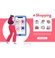 banner shopping and linear icons set vector image vector image