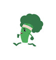 broccoli jogging with bandage on his head - green vector image vector image