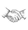 businessmen handshake sketch engraving vector image vector image