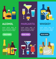 cartoon alcoholic beverages banner vecrtical set vector image vector image