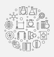 chemical laboratory concept round outline vector image