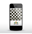 chess game app on mobile phone chessboard on vector image vector image