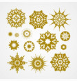 collection of golden snowflakes on a white vector image vector image