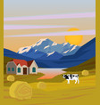 colorful drawing rural landscape template vector image vector image