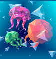 colorful polygonal jellyfish background vector image