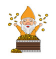cute gnome with treasure chest character vector image vector image