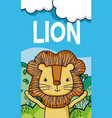 cute lion in forest cartoon vector image vector image