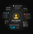 dark resume web infographic template vector image