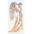 digital sketch drawing of marble statue sad angel vector image vector image