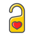 do not disturb with heart filled outline icon vector image vector image