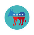donkey with usa flag block and flat style vector image vector image