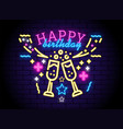 glowing neon happy birthday sign vector image vector image