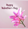 happy valentines day greeting card with lily vector image