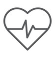 heart rate line icon medical and pulse heartbeat vector image