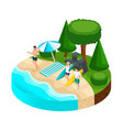 isometric island vacation people on the beach vector image vector image