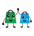 kawaii gifts shop bag cartoon friends vector image