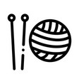 knitting needles icon outline vector image vector image