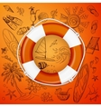 life buoy and hand draw icon vector image vector image