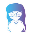 line avatar girl with hairstyle and heart design vector image vector image