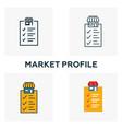 market profile icon set four elements in diferent vector image vector image