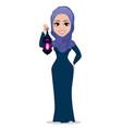 muslim woman holding arabic lantern vector image vector image