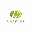 natural girl with monstera leaf logo vector image vector image