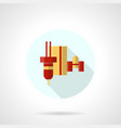 robotic laser machine flat round icon vector image vector image