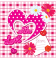 Romantic Card with heart and flowers vector image vector image