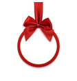 Round banner with red ribbon and bow vector image
