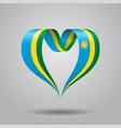 rwandan flag heart-shaped ribbon vector image vector image