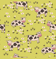 seamless pattern with cows in meadow vector image
