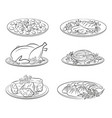 set food pictograms vector image