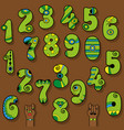 set of vintage numerals green numbers with bright vector image vector image